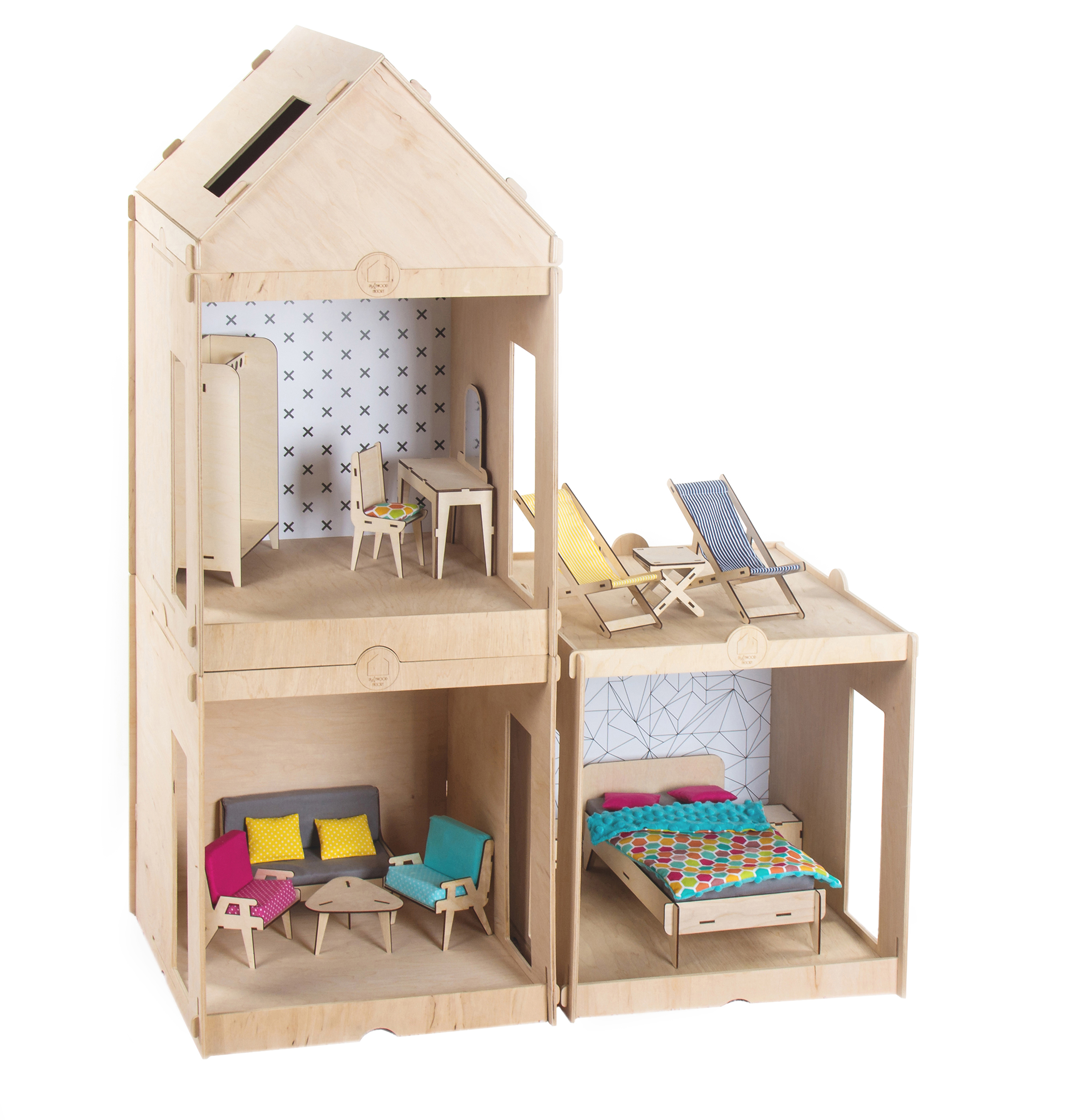 Dollhouse For Barbie Dolls With Furniture Big Playwood Factory